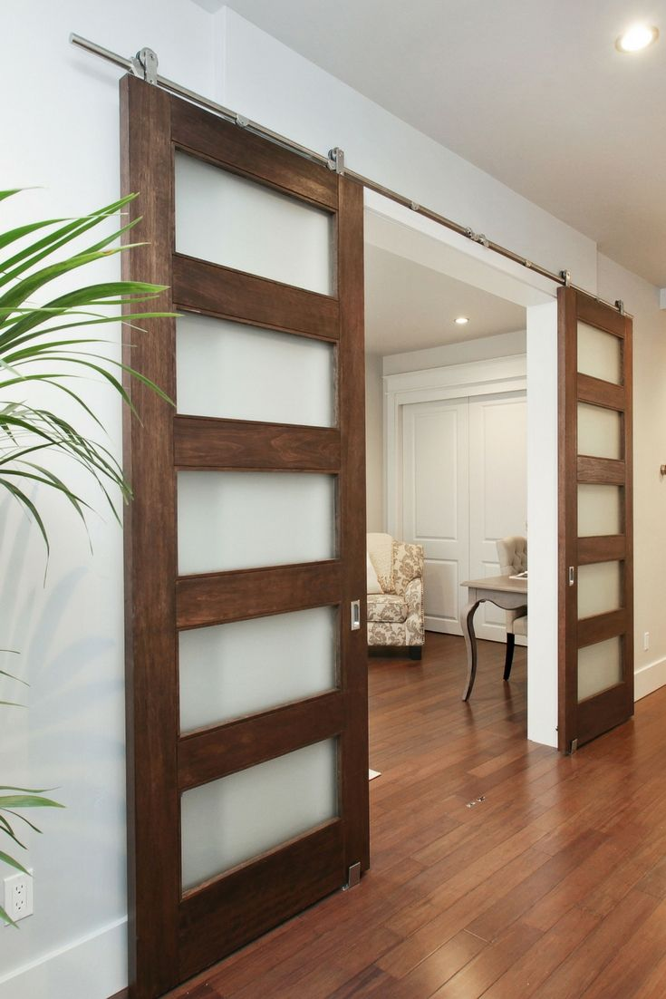 Space Saving Attractive Barn Doors With Frosted Glass