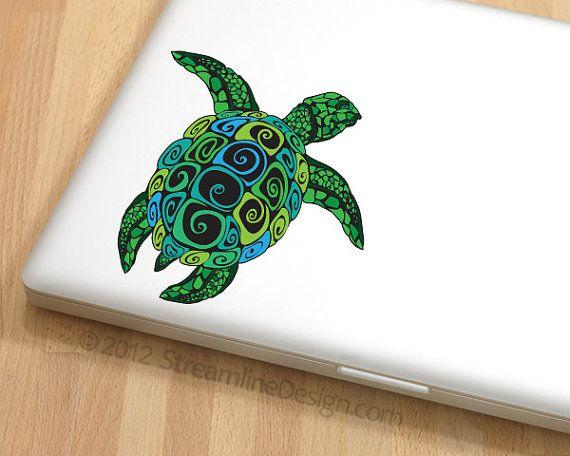 Tartaruga vinile portatile o spedizione gratuita di arte automobilistica taccuino nautico adesivo netbook adesivo computer adesivo portatile decal turtle arte