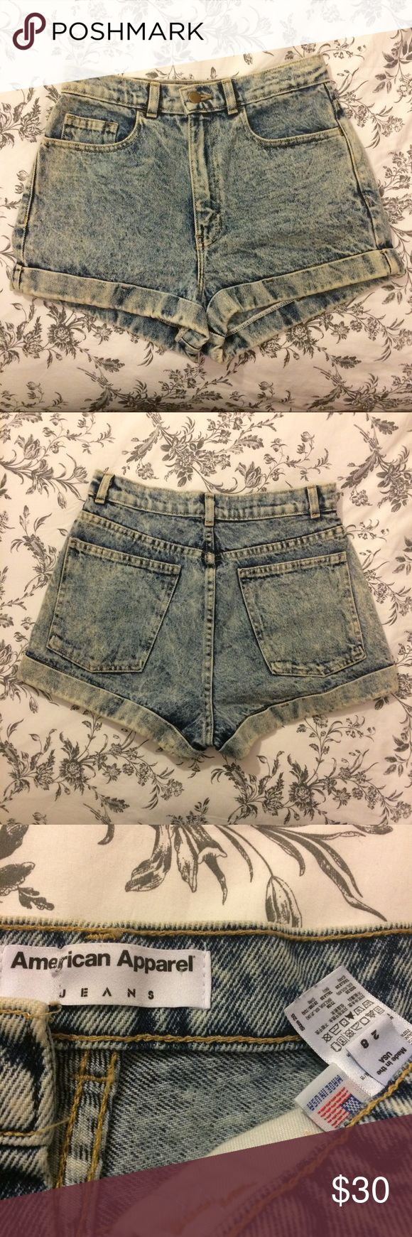 American Apparel High Waisted Acid-Wash Shorts American Apparel High Waisted Acid-Wash Jean Shorts. Size 28. Like New!  Re-posh, worn once by seller, never by me, didn't fit. High-Waisted, High Rose, Mom Jeans.  Bundle and Save! Offers Welcome :) American Apparel Shorts