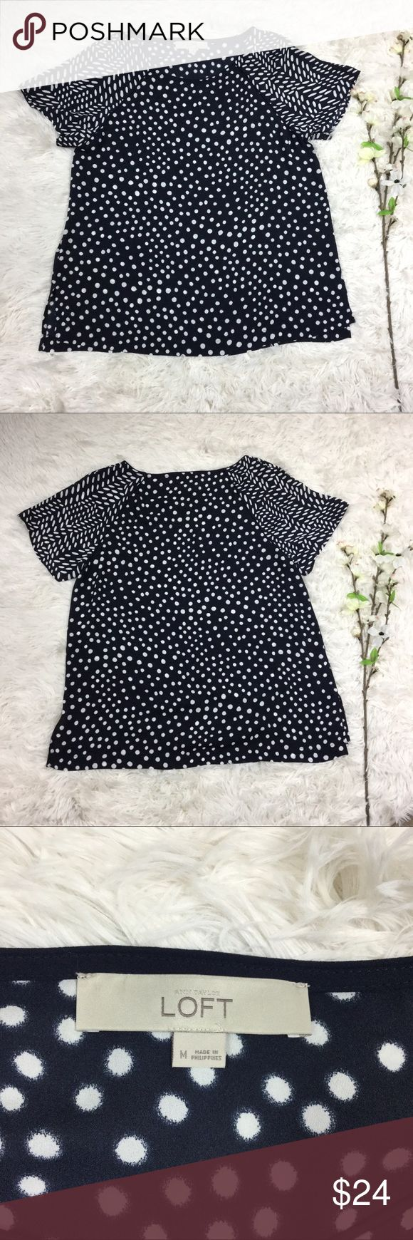 """LOFT navy blue & polka dot short sleeve sheer top Navy blue blouse top from LOFT. Semi sheer polyester material with white polka dots and specks on short sleeves. Size M, measurements included are appropriate bust 18"""" length 24"""". Great condition, no flaws. LOFT Tops Blouses"""
