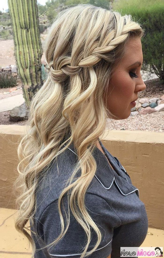 Halboffene Frisur Neue Halboffene Frisuren 2019 Abiball Frisuren Halboffen Brautfr Waterfall Braid Hairstyle Wedding Hairstyles Bridesmaid Down Hairstyles