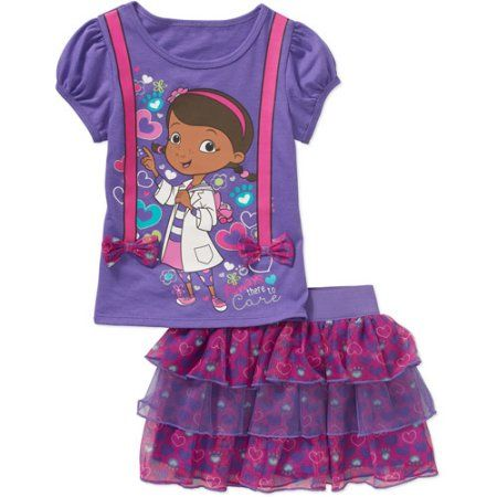 Doc McStuffins Baby Toddler Girl Tee and Skirt Outfit Set, Purple