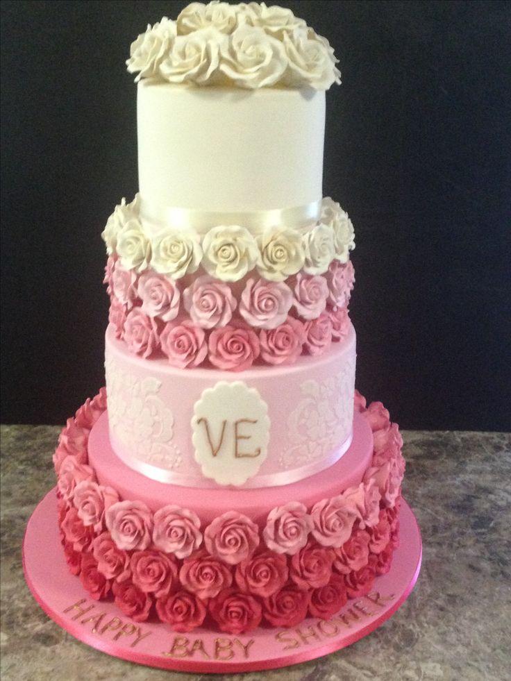 Ombré pink baby shower cake