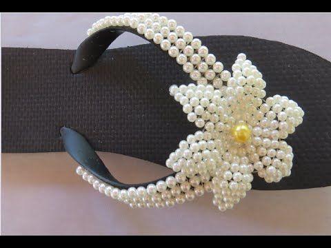 sandália decorada com pérolas flor de pérolas diy com cida reis - YouTube