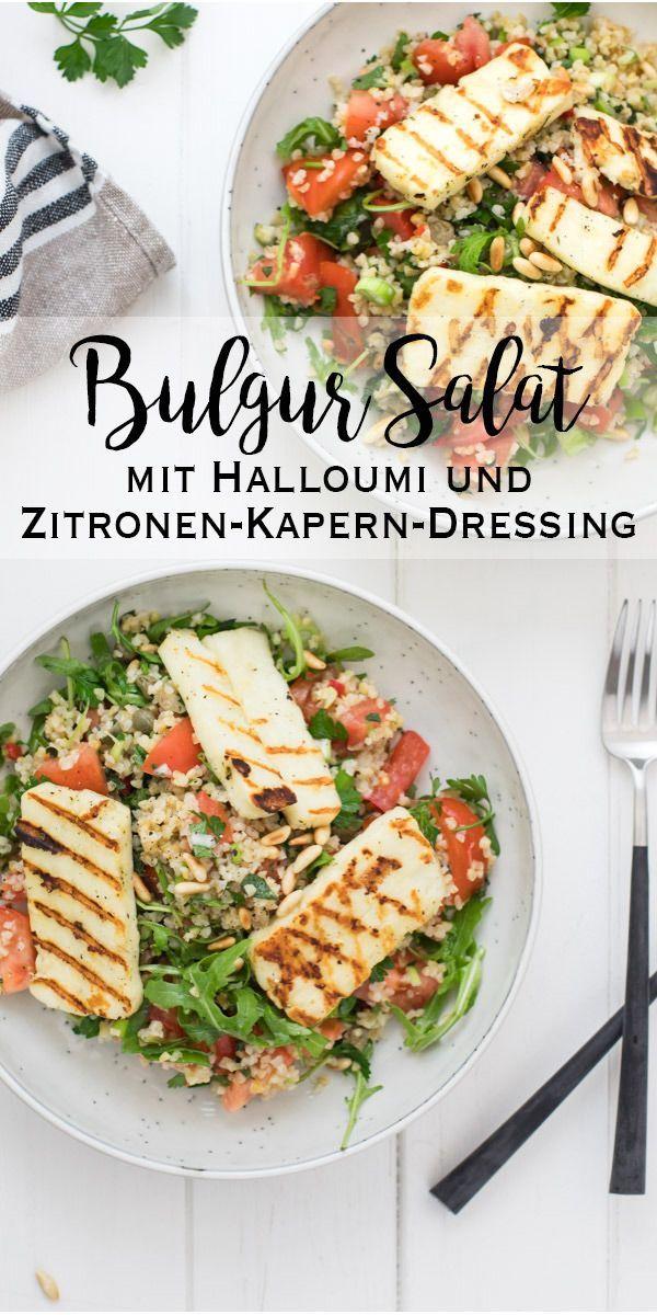 Bulgur-Salat mit Halloumi und Zitronen-Kapern-Dressing