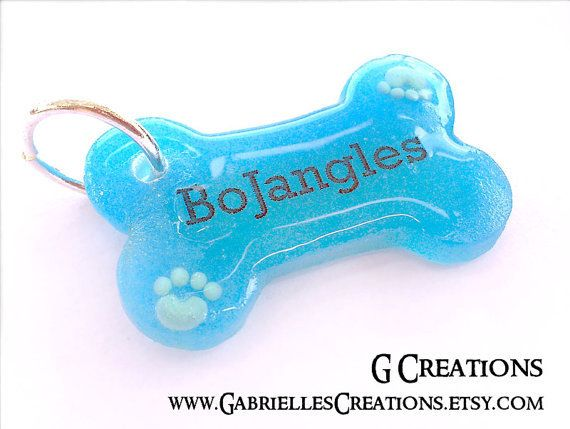 Blue Bone Dog Tag with Paws ... from GabriellesCreations on Wanelo