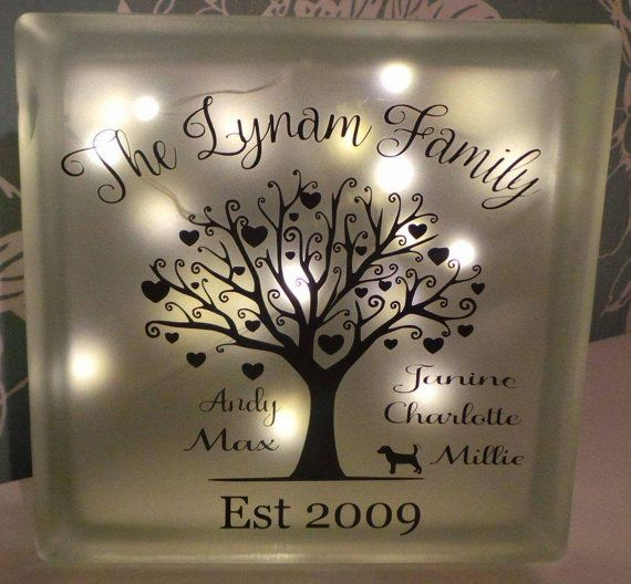 Family Tree glass block with 20 Led lights by AtticHouse on Etsy