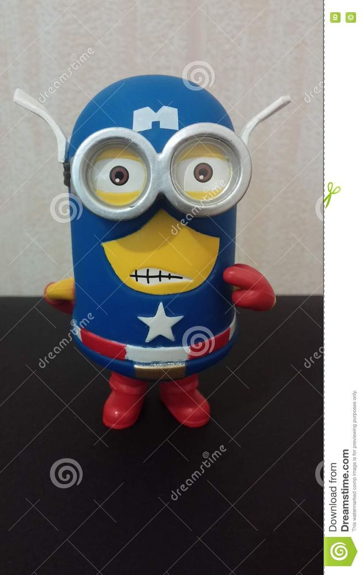 Download Captain America Minion Editorial Image via CartoonDealer. America Minion Toy Dressed His Blue Red Suit Holding Red Silver Blue Shield Star Logo Minion Showing Fool Face Giving Middle Finger Hiding Something To His Back. Zoom into our collection of high-resolution cartoons, stock photos and vector illustrations. Image:79725216
