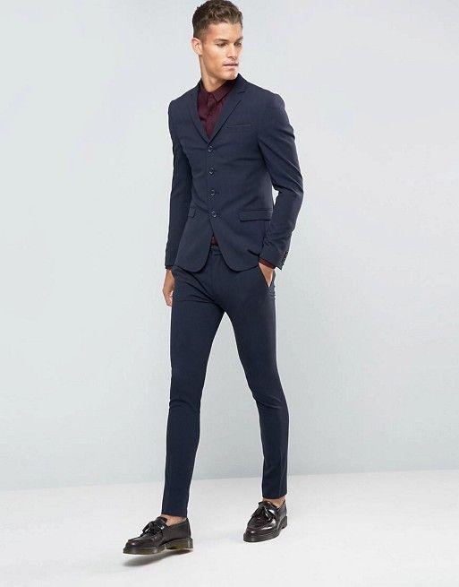 ASOS Super Skinny Four Button Navy Suit