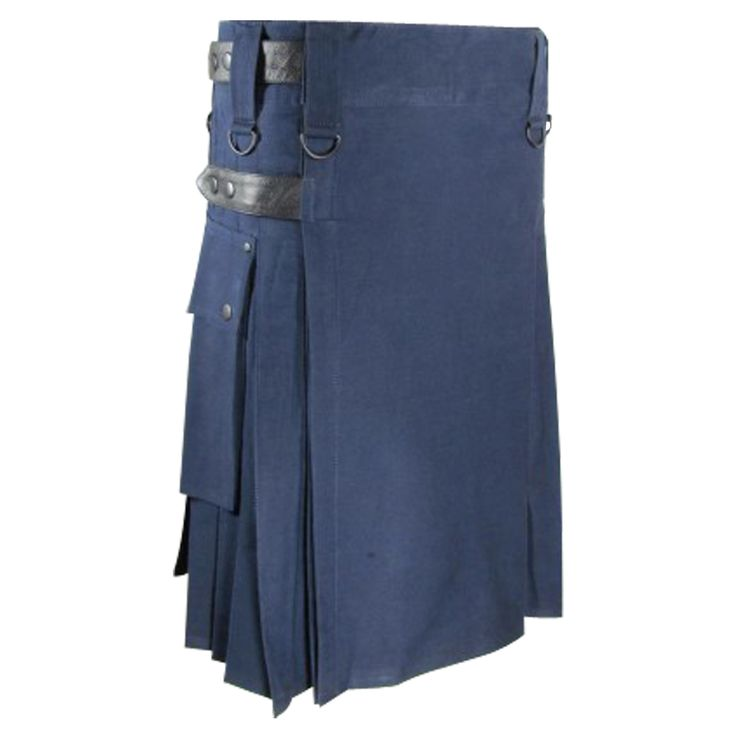 Blue #Utility #Kilt with #Leather #Strap. Our handmade ‪#kilts‬ are built to last and will withstand any manly task you put them up to. The style is traditional with added functionality. The custom ‪‎#button‬ placement and ‪#buckle‬ closure give our #kilts a unique flare you won't find anywhere else.Visit our online kilt shop we offer most authentic and latest. www.royalkilt.com http://royalkilt.com/kilts/modern-kilts/blue-utility-kilt-with-leather-strap.html