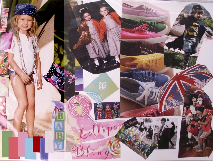 kid's wear mood board and color set