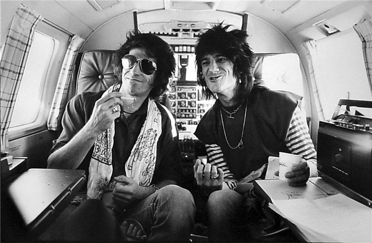 Keith Richards and Ron Wood in Lear Jet, Los Angeles, Henry Diltz, 1979.