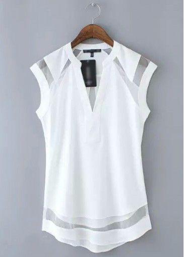 White Cap Sleeve V Neck Chiffon Blouse With Sheer Mesh Insert