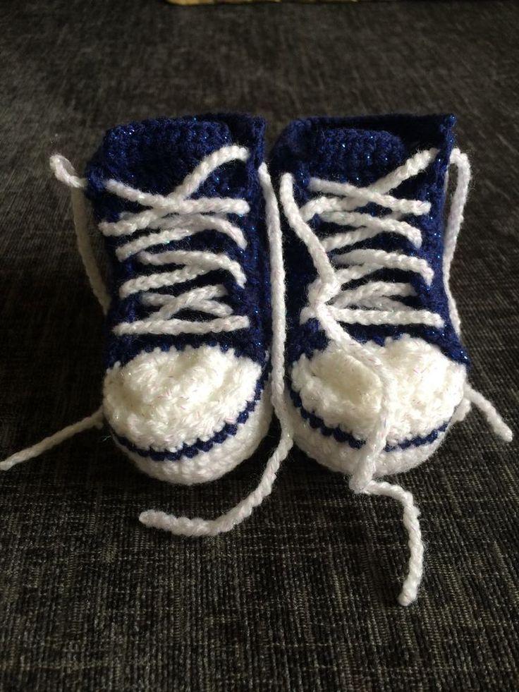 Handmade Crocheted Sparkling Dark Blue  Converse  Style Baby Booties