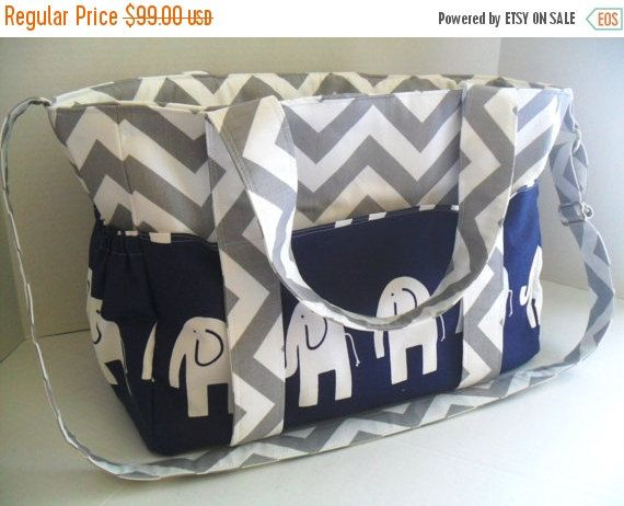 SALE Extra Large Chevron Diaper bag Made of Gray and by fromnancy