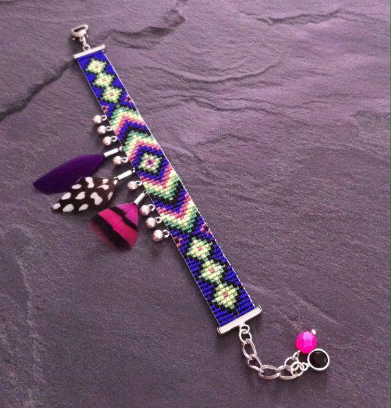 geometric friendship bead loom Cuff Bracelet par TDFTheDreamFactory