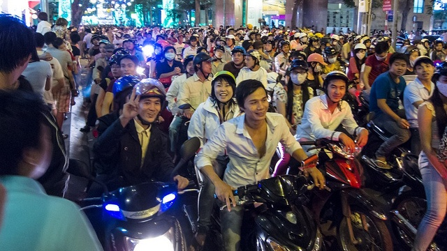 Madness on the roads in Saigon, Vietnam, New Years Eve 2012!