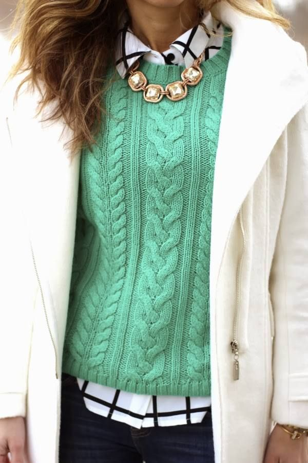 love the color of this cabled sweater