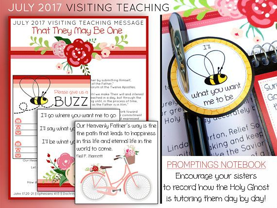 $2.00, July 2017 Visiting Teaching Message and Printables LDS Relief
