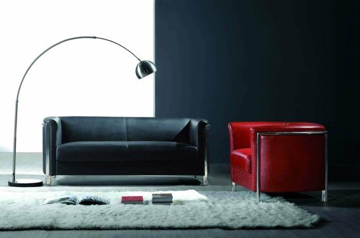 designer sofa rot und schwarz