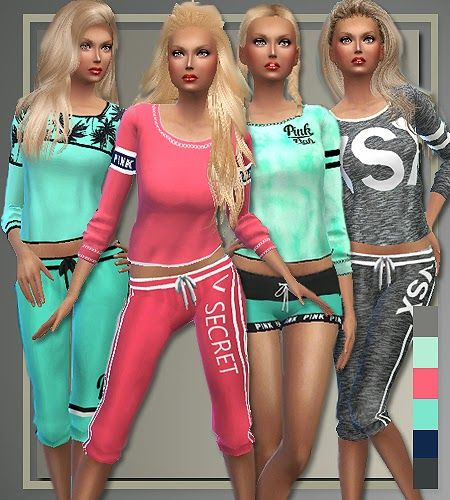 My Sims 4 Blog: Victoria Secrets Inspired Athletic Separates and Sneakers by Judie