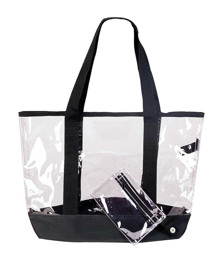 """20"""" Large Clear Tote Bag and Coin/ID Zipper Purse Small Center Pocket Pouch (FREE RETURN). Large Clear Tote Bag: Dimensions 20"""" x 14"""" x 6 Imprint Area: 10""""x6"""". FEATURES:This Large Clear Tote Bag is complete see Through. Comes with Small Pouch as *BONUS* which other competitor bag DO NOT HAVE IT. Front pocket to hold keys, change, credit cards, wallets, phones, etc....Also top part has a cards holder pocket. Bottom come with an extra board piece to hold heavier and more stuff. MATERIAL…"""