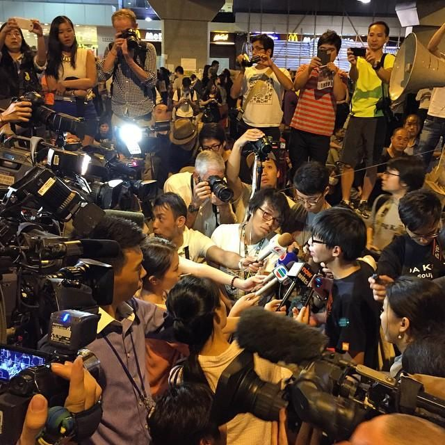 Hong Kong protests: Student leader Joshua Wong address the media. Picture: Hong Kong based lawyer Antony Dapiran.