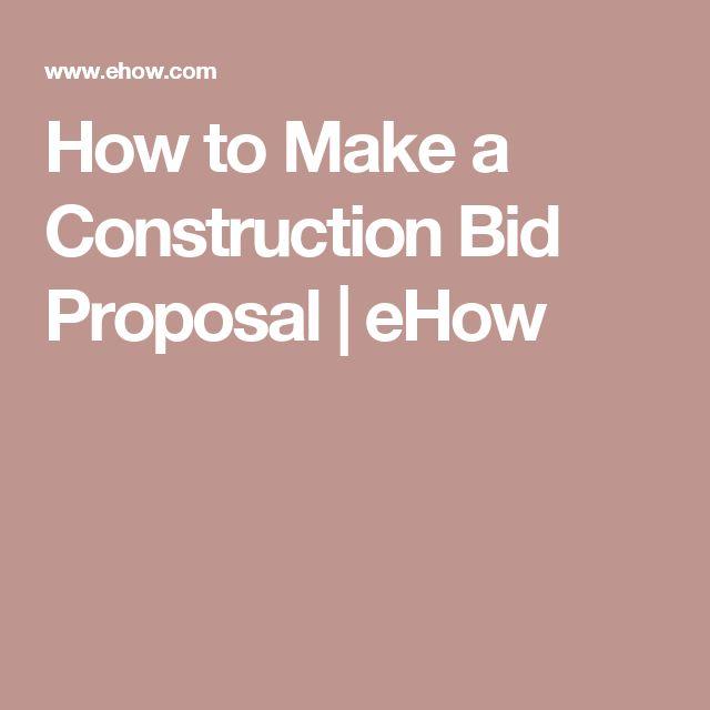 How to Make a Construction Bid Proposal   eHow