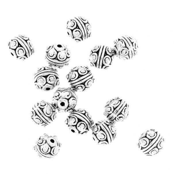 Przekładki metalowe ozdobne 5szt kulki srebro oksydowane 7mm AAS719