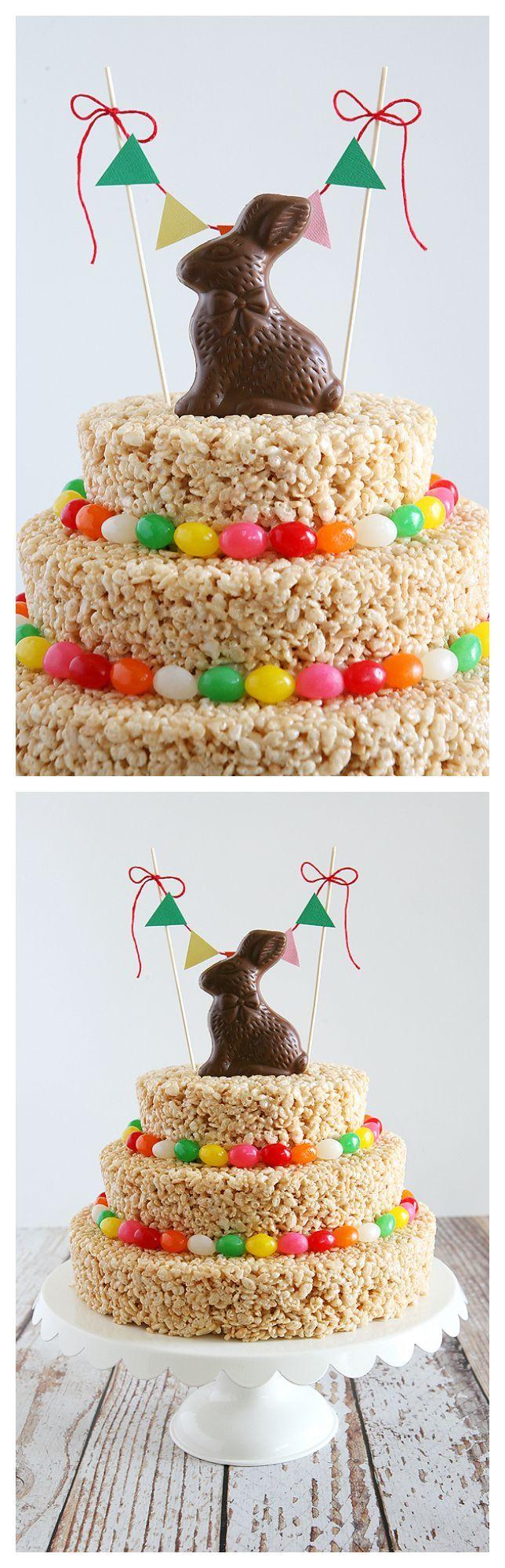 Easter Rice Krispies Treat Cake   Easter Treats