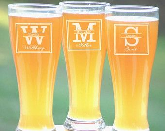 Etched Beer Glasses Personalized Pilsner by UrbanFarmhouseTampa