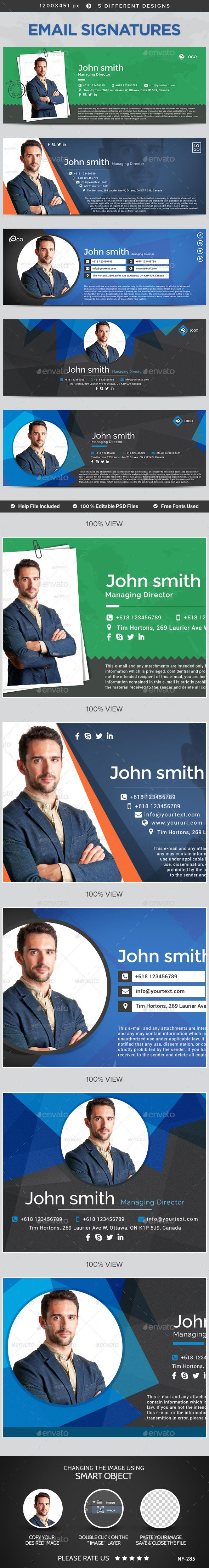 Email Signature Templates - 5 Designs (Photoshop PSD, CS3, 1200x451, custom email, email, email design, email setting, email signature, email stationery, flat, modern, personal signature, photoshop, professional, signature, simple, standard email, stationery)
