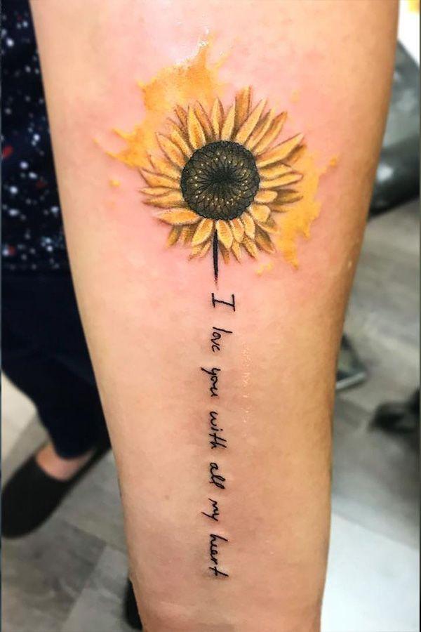 Watercolor Tattoos Sunflower Watercolor Tattoos Sunflower