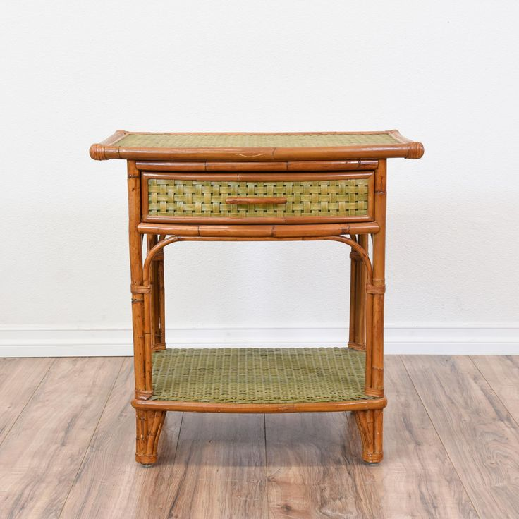 This Tropical Nightstand Is Featured In A Carved Bamboo With A Glossy Teak  Finish. This