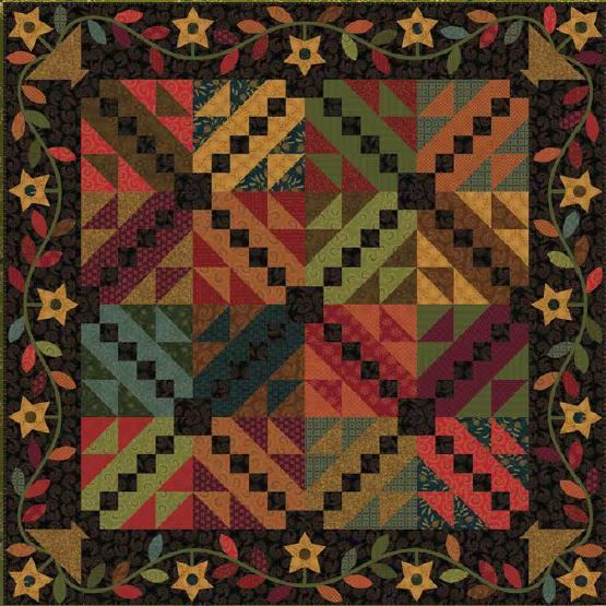 """The Country Spool Online Quilt Shop.  Kim Diehl's  Heritage Hollow Collection Evening Star Quilt 64-1/2"""" x 64/12"""""""