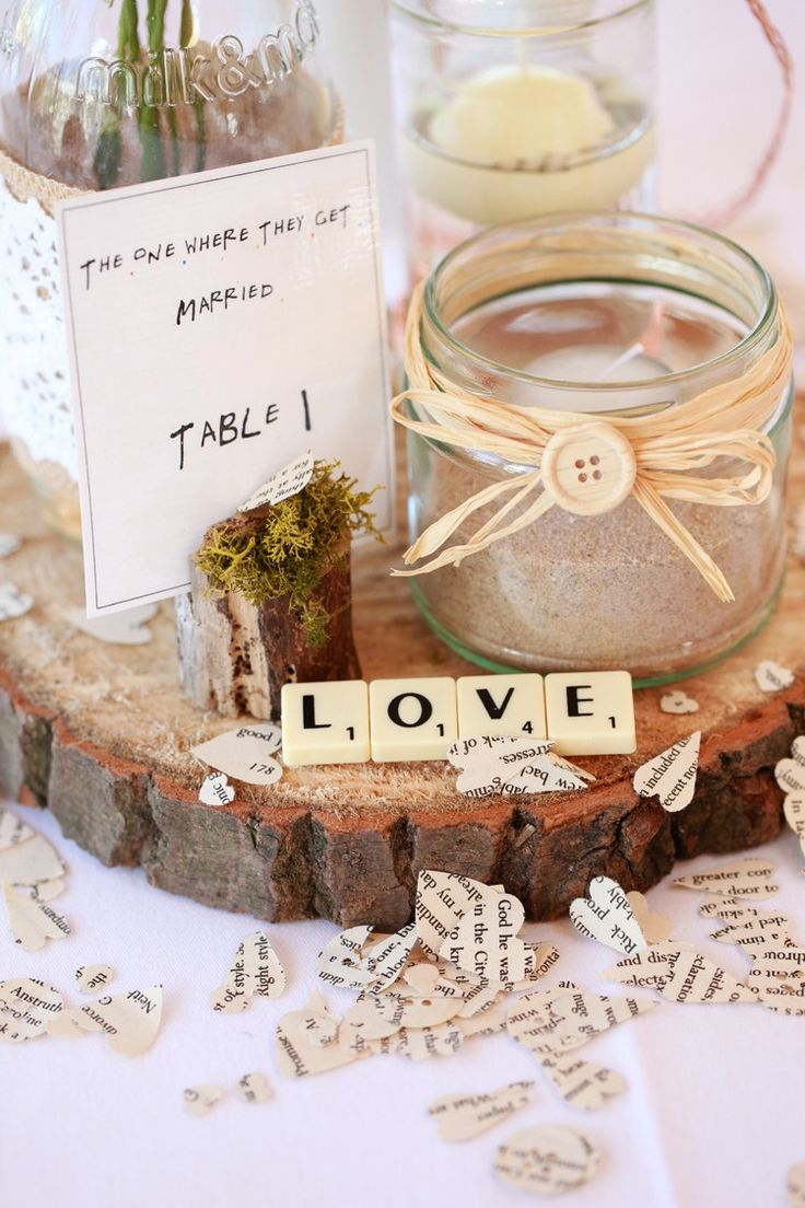 Tables Names Friends Log Jar Candle Raffia Scrabble Rustic Casual Summer Outdoor Beach Wedding http://www.lifephotographic.com/