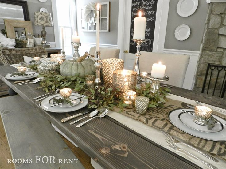 Rooms for rent mercury glass thanksgiving tablescape for Dining room tablescapes ideas