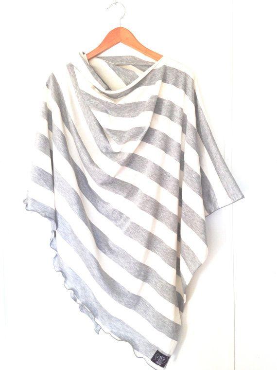 Grey Striped Nursing Cover-Full Coverage-Poncho-Modern-Privacy-Breastfeeding-Nursing Wrap-Shawl. $30.00, via Etsy.