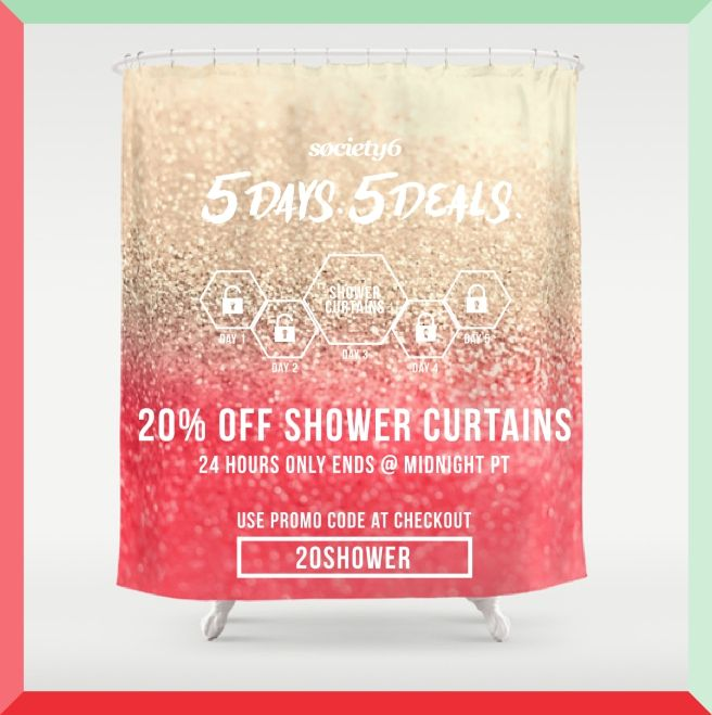 20 % OFF only today!!!!  All showercurtains in my store!  #showercurtain #promo #promocode #20% #monikastrigel #society6 #gold #coral #mint #teal #black #ombre #fading