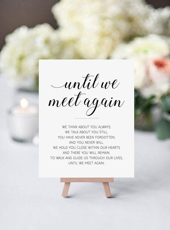 Memorial sign, Printable wedding sign, Until we meet again – Catherine Damiani