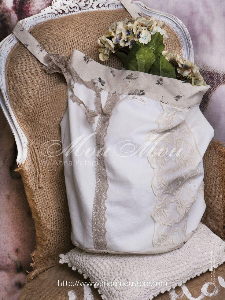 Handmade burlap bag.
