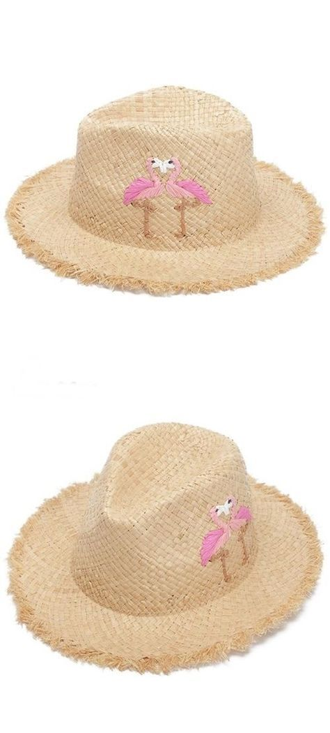 Women s Pink Flamingo Design Panama Summer Straw Hat a13ceee545
