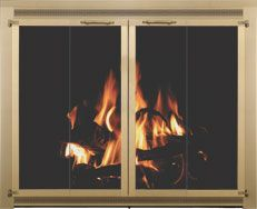 Stoll Traditional Glass Fireplace Door Enclosure In Brass Filigree