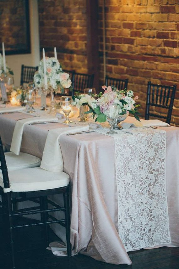 White Lace Table Runner by CandyCrushEvents on Etsy