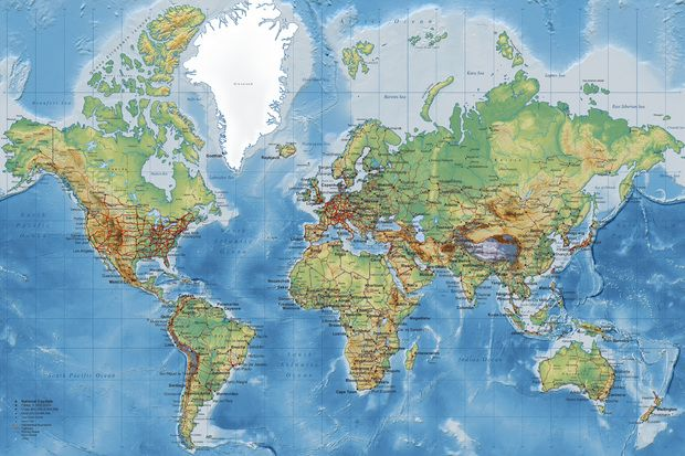 World Map - Detailed - Wall Mural & Photo Wallpaper - Photowall