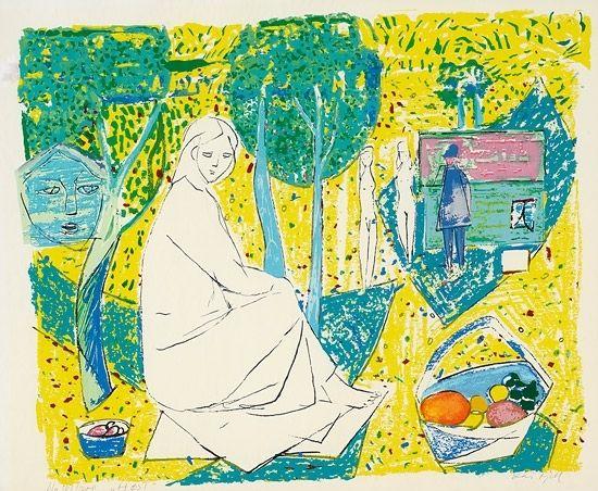 Fjell, Kai (1907-1989) Høst Serigrafi, lysmål, 45x55 Signert nede t.h.: Kai Fjell