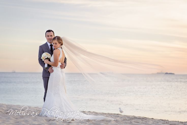 Love a long veil with a wedding dress, especially on a stunning beach like Cottesloe in Perth, Western Australia