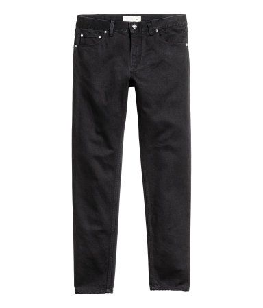 Black. KENZO x H&M. 5-pocket jeans in washed denim with a regular waist, zip fly, snap fastener, and skinny legs.