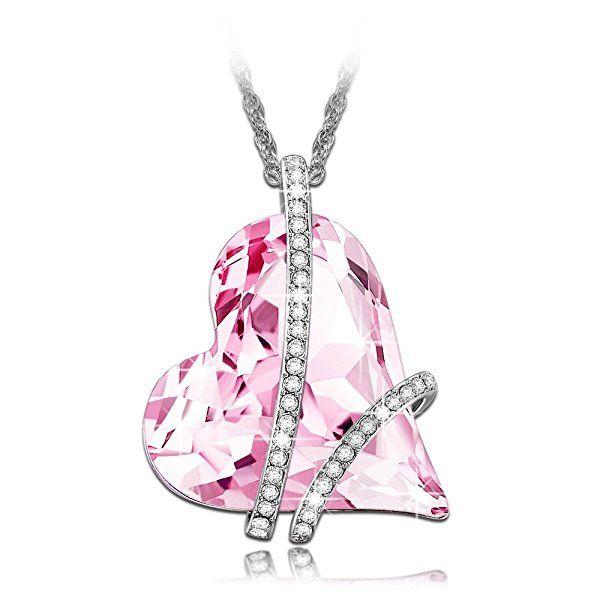 Lady colour Promesse Collier Femme cristaux de Swarovski violet coeur bijoux cadeau anniversaire fete des meres idee cadeau noel cadeau saint valentin amoureux romantique amour mere fille mariage