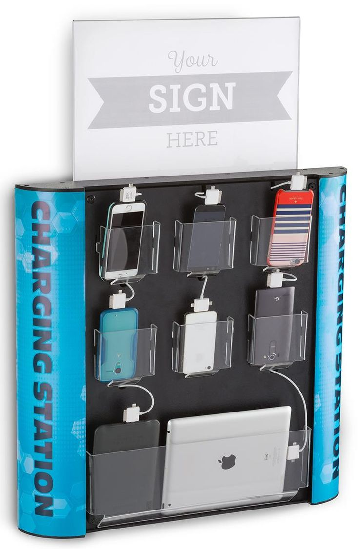 """Charging Kiosk for Wall, 8 Multihead Cables, """"CHARGING STATION"""" Message - Black"""